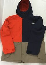 The North Face Men Hooded Jacket Colorblock Navy Blue Orange Beige NWOT Size XXL
