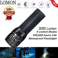LOMON 3000 Lumen LED Tactical Flashlight Zoom Torch Lamp Waterproof AAA T-STORE