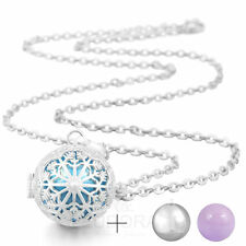 Snowflower Pendant Chain Necklace Locket aromatherapy Sterling Silver Chime Ball