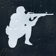 Army Warrior With Military Weapon Car Decal Vinyl Sticker For Window Bumper