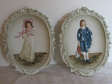 Vintage Lefton China Hand Painted Pink Lady & Blue Boy Bisque Wall Plaque KW3504