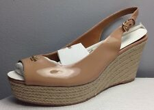 COACH FERRY PATENT PATFORM ESPADRILLE WEDGE SLING BACK IN SHELL 10 M NIB