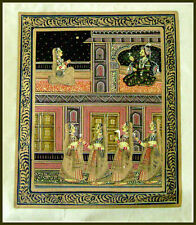 Original mughal king and queen miniature painting natural colors from India