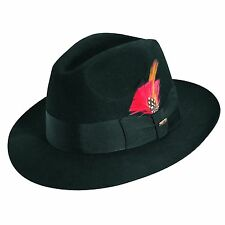 SCALA * BLACK WOOL FEDORA HAT ** M L XL ** NEW MENS TRILBY LINED GODFATHER DRESS
