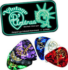 D'ANDREA 351 DESIGNER CELLULOID Guitar Picks .46MM THIN 12 picks in Tin BOX