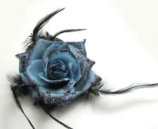 1X  Flower Feather Prom Wrist Corsage Hair Clip Fascinator Pin Brooch Gray Blue