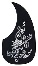 Acoustic Guitar Pick-guard. Black Comma Shape with Patterns.