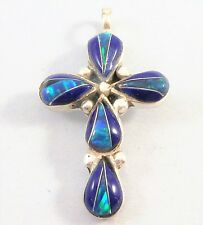 STERLING SILVER Vintage Christian LAPIS BLUE OPAL Glows INLAY CROSS PENDANT 1""