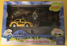 Smurfette Taxi Cab Bench Smurfs City set JAKKS NEW In Box! action figure Movie