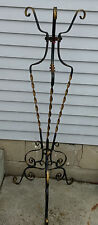 Antique Wrought Iron Plant Fern Fishbowl Stand Orig Polychrome Finish & Flowers