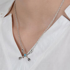 Women Fashion Alloy Silver Cross Line Design Necklace Bohemian Style Jewelry