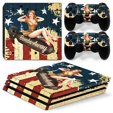 Sony PS4 Pro Console and Controller Skins / Decal -- WW2 Bomber Girl (P-0114)