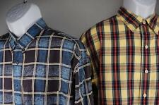 IZOD  LOT of 2  Button Front Casual Shirt Long Sleeve  Yellow Navy Plaid Mens L