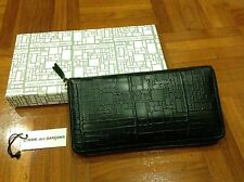 COMME DES GARCONS CDG Black Leather Square Logo Embossed Zip Around Long Wallet