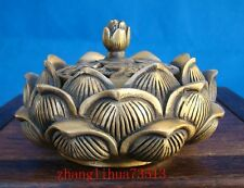 Antique Collectible Handmade Brass Incense Burner Lotus