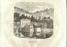 Stampa antica TREMEZZO Caffè RAVIZZA Lago di Como 1859 Old antique print