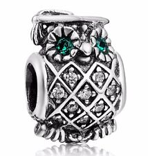 925 Sterling Silver Crystals Owl Style European Bead Charm For Handmade Bracelet