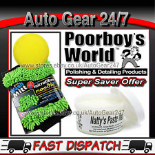 Poorboys Natty's Paste Carnauba Wax White + Wash mitt & Polishing Pad