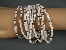 Cream Gold tone set pack of 12 plastic seed bead stretch bracelets beaded