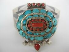 Sterling Silver Gau Locket ~ Fabulous unique Buddhist turquoise coral pendant