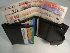 Gents Pecora Morbido in pelle a portafoglio nero con tasca monete e carte di credito sezioni