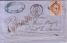 LOT ET GARONNE - AGEN - EMPIRE N°16 - 40c SEUL SUR LETTRE DU 31-7-1858.