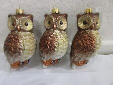 (3) Christmas Holiday Glitter Owl Shatterproof Plastic Ornaments 4.75""