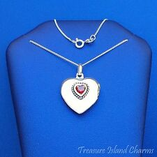 "HEART LOCKET WITH GARNET CZ .925 Solid Sterling Silver Pendant Necklace 16"" 18"""
