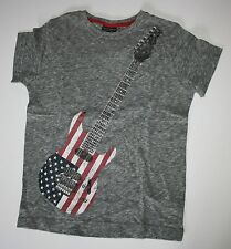 New NEXT UK Gray Guitar American Flag Design Top Tee Size 8 year 128 cm NWT
