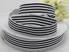 "Black and White Stripe Pencil / Candy Stripe Grosgrain Ribbon 1"" 25mm wide"