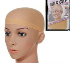 2PCS Elastic Unisex Stocking Wig Liner Cap Snood Nylon Stretch Mesh black Beige