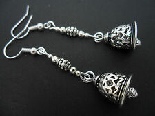 A PAIR OF CUTE TIBETAN SILVER DANGLY BELL THEMED  EARRINGS. NEW.