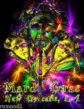 Psychedelic Mardi Gras Poster/Print 2015 New Orleans/17x22 inches/Masks&Lights