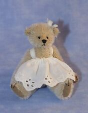 "DEB CANHAM ""VICTORIA"" MINIATURE MOHAIR BEAR WEARING A WHITE COTTON DRESS 2012"