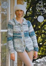 KNITTING PATTERN Ladies Long Sleeve Easy Knit Jacket Collar Super Chunky 4291