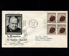 OPC 1965 Canada Winston Churchhill FDC Sc#440 Block Rose Craft Cachet