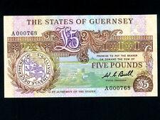 Guernsey:P-49a,5 Pounds,1980-89 * Thomas De La Rue * UNC * Low Serial Number *