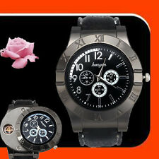 Windproof Men's Military Quartz Watch USB Cigarette Cigar Flameless Lighter BK