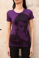 GF FERRE Gianfranco Ferre violet violet you make me laugh t shirt stretch slim s