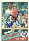 Ned Yost Signed 1985 Topps Rangers Card - COA - KC Royals - 2015 World Series