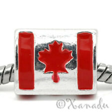 Flag Of Canada European Charm Bead - Handpainted Enamel Canadian Maple Leaf Flag