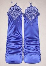 NEW Long ROYAL BLUE Satin FINGERLESS RUCHED Gloves w/ BEADS & SEQUINS ~ One Size