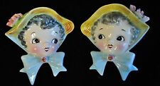 "Pair rare vintage 1950s Lefton ""Miss Dainty"" wall pocket head vase figurine"