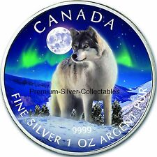 2011 Canada Wildlife Series Grey Wolf Aurora Borealis 1 Ounce Pure Silver .9999!