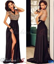 Womens Evening Dress Maxi Black Ball Gown Prom Party Formal Long Lace Size 12,14