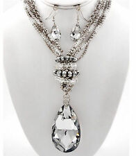 Womens Faceted Giant Teardrop Crystal Silver Chunky Beaded Elegant Necklace Set
