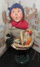 BYERS CHOICE CAROLER French Boy with Chicken/Hen in a Basket 2003   *