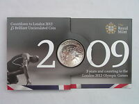 """2009 1st """"Swimming"""" Countdown £5 BU Coin Pack 2012 Olympics Royal Mint Brand New"""