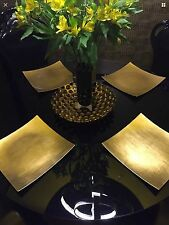 Gold Square Charger Plate Set of 4 THICK