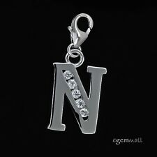 Fine Sterling Silver CZ Initial Letter N European Clip On Charm #94293